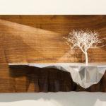 "Ryan Hoover, ""Arborescent Algorithm Series: Seed 5008-RF"", 2015, Nylon 3D print, walnut, aluminum, enamel, 15"" x 27"" x 8"""
